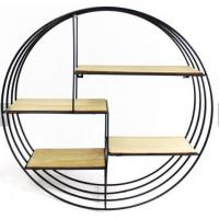 China Retro Round Wooden Shelf Metal Wall Hanging Shelf metal display showcase hanging modern home wall decoration wholesale