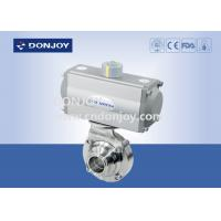 China DN50 Horizontal Actuator Pneumatic  butterfly ball valve  with clamped connection wholesale