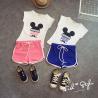 China 2016 Fashion Girl Kid's Mickey Pattern T-shirt +Cute Colorful Sport Shorts Pants 2 PCS wholesale