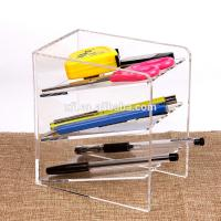 China 3 Tier Acrylic Shop Display Pen Holder Acrylic Stationery Shelf Display Rack Customized Logo wholesale