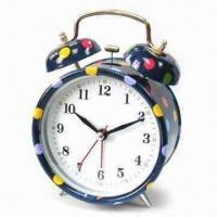 China Alarm Clock with Spot Pattern Design Printing, OEM Orders Welcome, Glass Face wholesale