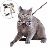 China Nylon Webbing Adjustable Cat Harness Kitty Rabbit Plaid With Removable Bowtie wholesale
