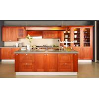 China Red cherrywood veneer with FIRENZI classical Kitchen cabinet with island cabinet and open grid BS8027KC on sale