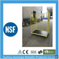 China Convenient Handle Caged Trolley On Wheels , Folding Pallet Mobile Cage Trolley on sale