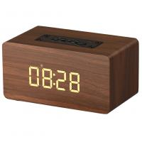 China Wooden Wireless Alarm Clock Bluetooth Speaker with mp3 display bookshelf speaker wholesale