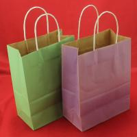 China Foldable Green kraft paper bag , Recyclable twisted handle paper bags wholesale