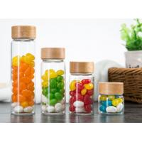 China 500ml Glass Storage Jars With Wood Lid / Transparent Glass Candy Jars In Bulk wholesale