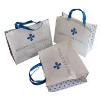 China White and Blue 85gsm Nonwoven Fabric Carrier Bags With Matt Coated,White Piping,Button,Blue Handle Resable & Durable Bag wholesale