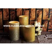 China Real Wax And Glitter Finish LED Wax Pillar Candles / Flameless Electric Candles on sale