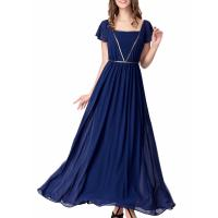 China Elegant Chiffon U Neck Womens Summer Maxi Dresses Royal Blue Flare Sleeves Big Sweep wholesale