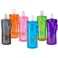 China Spouted flexible foldable water bag with carabiner for running, flexible printing and lami wholesale