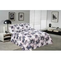 China Blue Square Printed Quilt Set Machine Washing In Cold Water Separately For Family wholesale