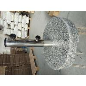 China Round Grey Granite Parasol Base , Hand Carry Sun Umbrella Stone Base With Wheel wholesale
