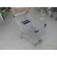 China Zinc Plated 80L Supermarket Shopping Trolley With Bottom Tray And Plastic Parts wholesale