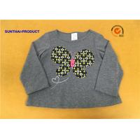 A Line Shape Children T Shirt Heather Gray Embroidered Baby Girl Long Sleeve T Shirts