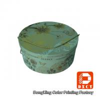 China Hot Foil Stamping Sturdy Round Decorative Cardboard Boxes With Lids String Style on sale