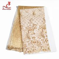 China Multi Colored Beaded Lace Fabric Embroidered Lace Fabric For Indian Sarees wholesale