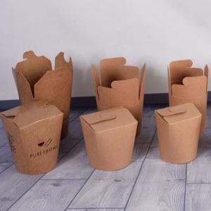 China Square 26oz Fast Food Packing Box Foldable Disposable Kraft Paer Pasta Noddles Takeaway wholesale
