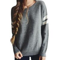 China Trendy Crew Neck Long Sleeve Sweater , Knit Strips Boyfriend Pullover Sweaters wholesale