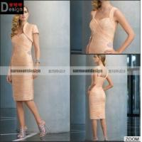 China Spaghetti Straps Sweetheart Pleat Knee-length Short Evening Dresses With Jacket For Sale on sale