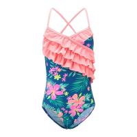 China Floral Prints Pink Ruffles Little Girl Swimsuits , Spaghetti Strap Swimsuit Summer Design wholesale