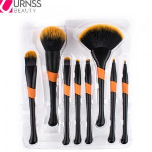 China 8 pcs black orange custom logo makeup brush set Synthetic Hair plastic handle cosmetic tool on sale