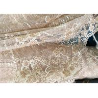 Quality Champagne Gorgeous Flowers Sequin Lace Fabric With Dot Scalloped For Party Gown for sale