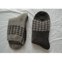 China Grey Woven Jacquard Mens Wool Socks , Breathable Mens Dress Socks For Autumn wholesale
