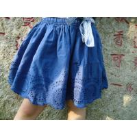 China Blue Embroidery Cotton Little Girls Denim Skirt , Eyelet Girls Summer Skirts With Bow wholesale