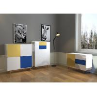 China Yellow / Grey / Blue / High Gloss Color With Solid Wood Legs SideBoard wholesale
