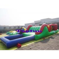China Customized Inflatable Water Parks Obstacle / Inflatable Water Slide With Pool wholesale