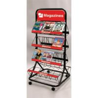 China Wire Two sided Postcard Magazine Display Racks Stands with 8 wire shelves for exhibit wholesale