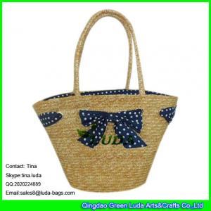China LUDA woven straw dot bowknot shopping bag fashion straw vinyl beach bags on sale