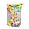 China Round Spongebob Theme Toy Bricks Blocks Zipper Storage Bags for Children Building Blocks with handle wholesale
