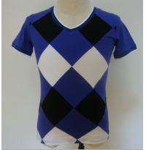 China Summer Checked Panels Mens Polo T Shirts Short Sleeve V Neck T Shirts 95% Cotton 5% Spandex wholesale