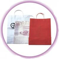 China Custom White / Red Small Gift Hard Plastic Handle Bag with Colorful Printing wholesale