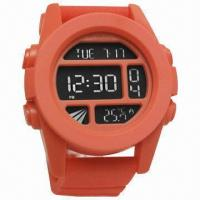 Quality Promotional Digital Watch with Plastic Case and Rubber Strap, Multifunction for sale