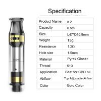 China CBD tank K2 cartridge 0.5ml tank capacity adjustable airflow ceramic coil pyrex glass and metal material gold color wholesale