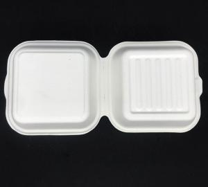 China Biodegradable Sugarcane Pulp 450ml Hamburger Lunch Box For Take Away Food Container wholesale