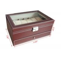China Handmade Mens Watch Jewelry Box , Brown12 Slots Wooden Watch Storage Case wholesale
