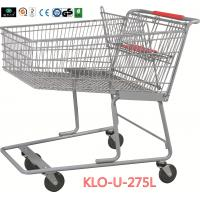 China 275L American Grocery Store Shopping Trolley With Base Grid / Metal Supermarket Carts wholesale