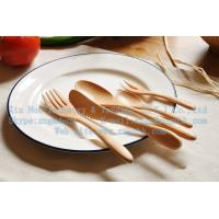 China Wooden children's cutlery sets, wooden knife and fork spoon 5 sets of wooden fruit fork on sale