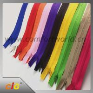 China Brass / Aluminum / Plastic / Derlin / Nylon Invisible Zipper Slider Long Chain wholesale