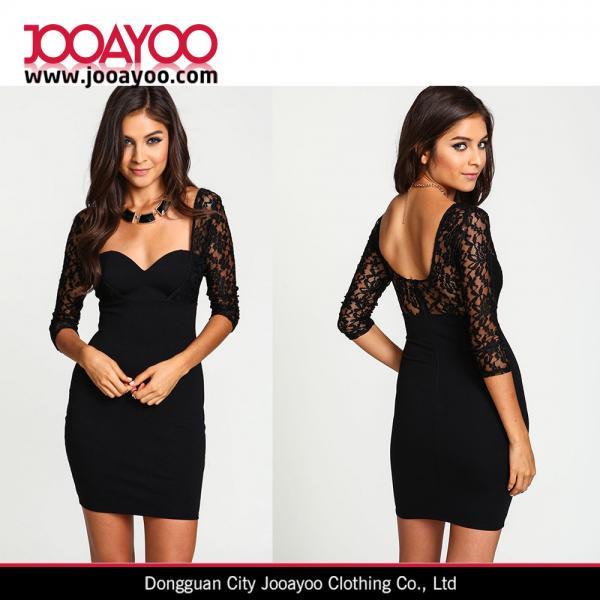 Quality New Fashion Black Sweetheart Neck Bodycon Dress Women Elegant Black Lace Sexy Party Dress for sale
