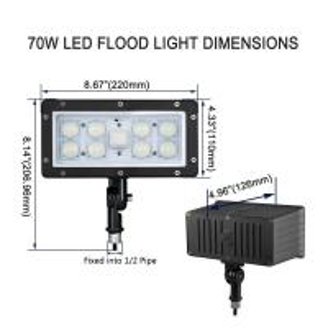 AC100-277V Slim LED Flood Light Outdoor Knuckle Mount 45w Aluminum / Glass Shell