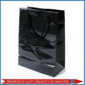 China Plain Black Glossy Lamination Paper Shopping Bag for Garment Apparel wholesale