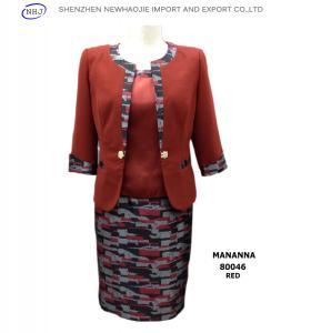 China MANANNA New Three-Piece Ladies Skirt Suit red/black on sale
