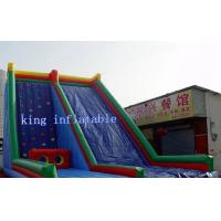 China Custom Blue Inflatable Water Slide , Kids Entertainment Climbing Wall Inflatable Toys Slide wholesale