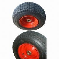 China 6.50-8 Pneumatic Wheel for Wheelbarrow Agricutural, with 25% Natural Rubber and 2.0mm Thickness Rim wholesale