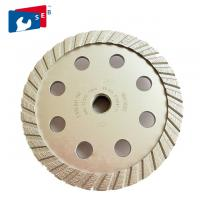 China Light Weight Turbo Stone Diamond Cup Wheel 5 Mm Segment Width Painted Color wholesale